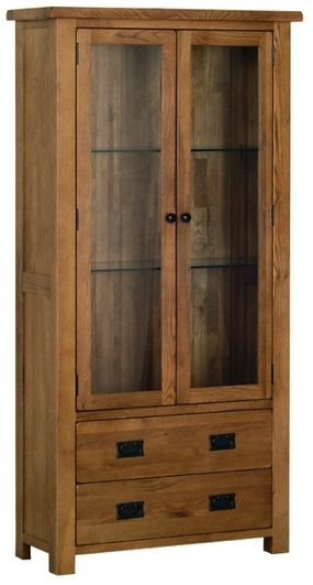 Devonshire Rustic Oak Glass Display Cabinet