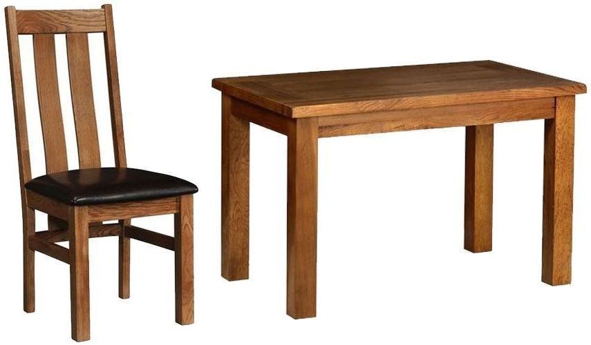 Devonshire Rustic Oak Rectangular Dining Set with 4 Arizona Chairs - 120cm