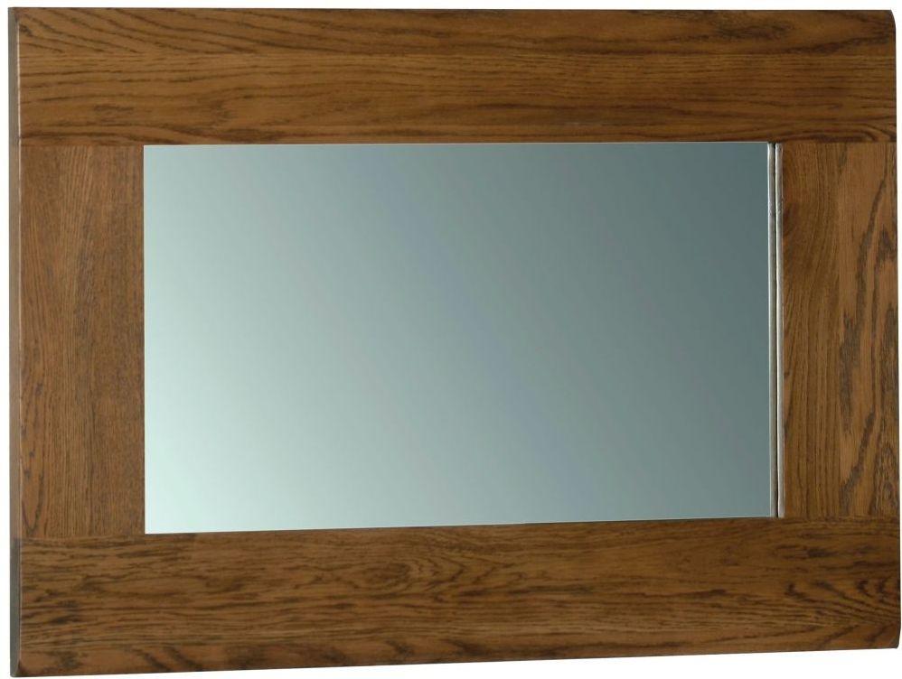 Rustic Oak Rectangular Wall Mirror - 90cm x 60cm