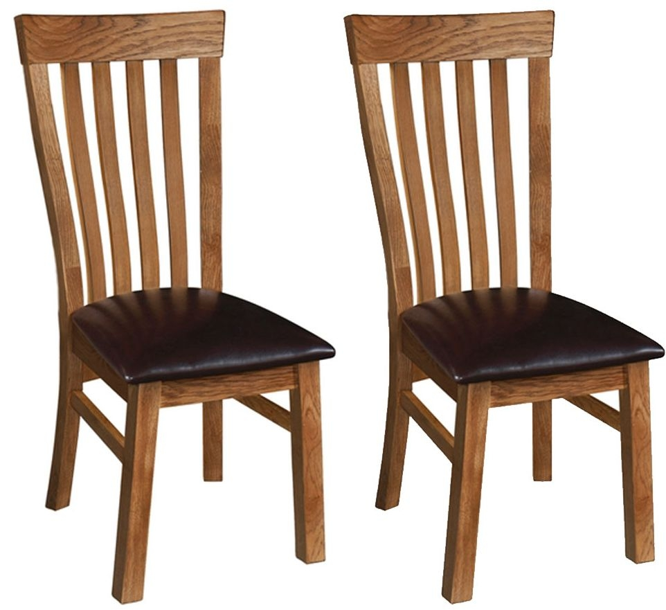 Devonshire Rustic Oak Toulouse Dining Chair Pair Cfs