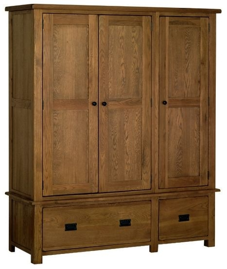 Devonshire Rustic Oak Triple Wardrobe - 3 Door 2 Drawer