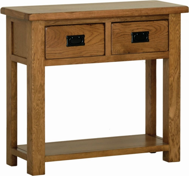 Rustic Oak 2 Drawer Console Table