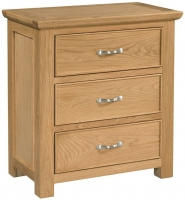 Devonshire Siena Oak 3 Drawer Bedside Cabinet