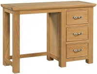 Devonshire Siena Oak 3 Drawer Single Pedestal Dressing Table