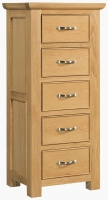 Devonshire Siena Oak 5 Drawer Wellington Chest