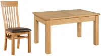Devonshire Siena Oak Rectangular Butterfly Extending Dining Set with 4 Toulouse Chair - 120cm-160cm