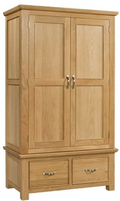 Devonshire Siena Oak Gents Wardrobe - 2 Drawer