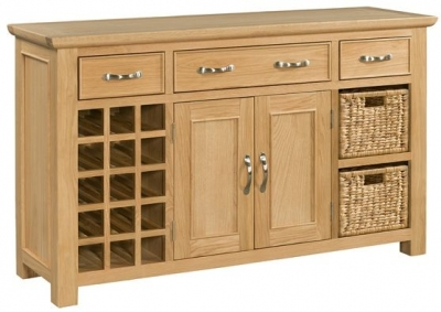 Devonshire Siena Oak Sideboard with Basket and Wine Rack - Large