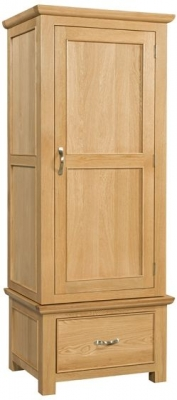 Devonshire Siena Oak Single Wardrobe - 1 Drawer