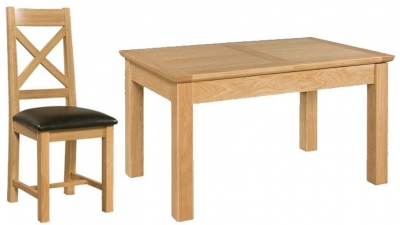 Devonshire Siena Oak Dining Set - Small Table with 4 Cross Back Chairs