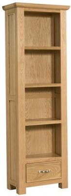 Devonshire Siena Oak Bookcase - Tall Narrow 1 Drawer