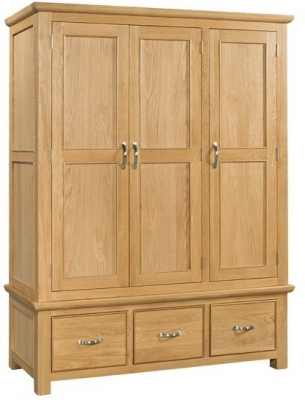 Devonshire Siena Oak Wardrobe - Triple 3 Drawer