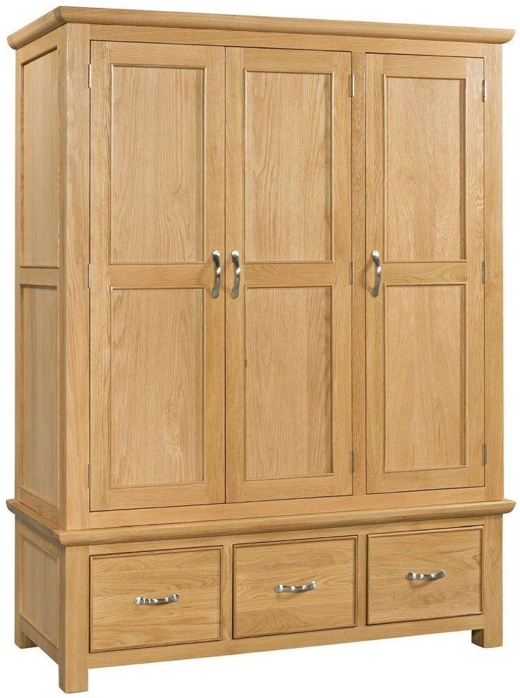 Devonshire Siena Oak 3 Door 3 Drawer Triple Wardrobe