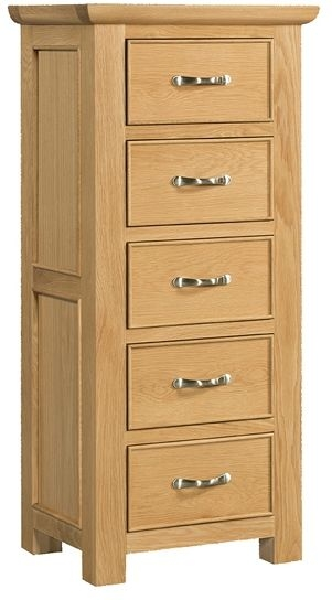 Devonshire Siena Oak Chest of Drawer - 5 Drawer Wellington
