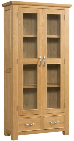 Devonshire Siena Oak 2 Door 2 Drawer Display Cabinet