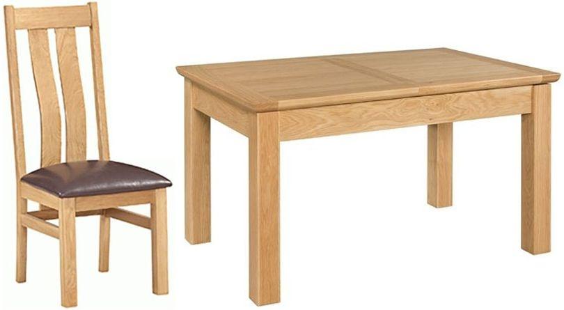 Devonshire Siena Oak Rectangular Butterfly Extending Dining Set with 4 Arizona Chair - 120cm-160cm