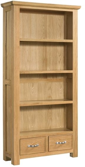Devonshire Siena Oak Bookcase - Tall 2 Drawer