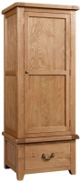 Devonshire Somerset Oak 1 Door 1 Drawer Single Wardrobe