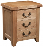 Devonshire Somerset Oak 3 Drawer Bedside Cabinet