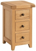 Devonshire Somerset Oak 3 Drawer Compact Bedside Cabinet