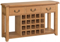 Devonshire Somerset Oak 3 Drawer Wide Sideboard with Wine Rack