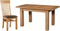 Devonshire Somerset Oak Rectangular 1 Leaf Extending Dining Set with 4 Curved Back Chairs - 120cm-153cm