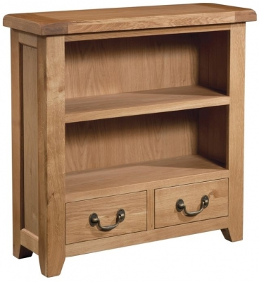 Devonshire Somerset Oak Bookcase with 2 Drawer - Small