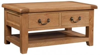 Devonshire Somerset Oak Coffee Table - Large 2 Drawer