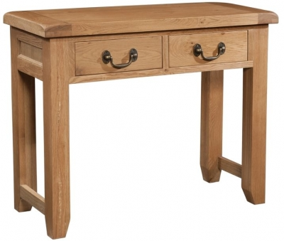 Devonshire Somerset Oak Console Table - 2 Drawer