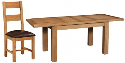 Devonshire Somerset Oak Dining Set - 2 Leaf Small Extending Table with 4 Chairs