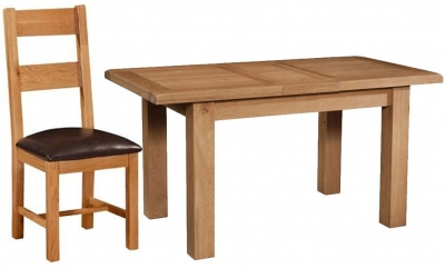 Devonshire Somerset Oak Dining Set - 1 Leaf Extending Table with 4 Chairs