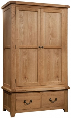 Devonshire Somerset Oak Wardrobe - Double 2 Drawer