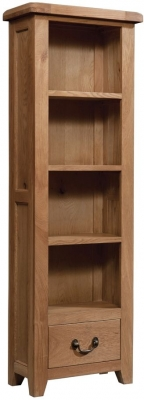 Devonshire Somerset Oak Bookcase - Tall Narrow 1 Drawer