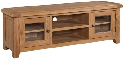 Devonshire Somerset Oak Screen TV Unit - Wide