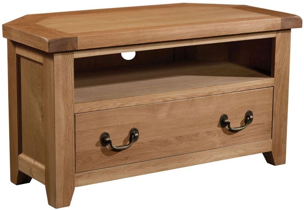 Devonshire Somerset Oak 1 Drawer Corner TV Unit