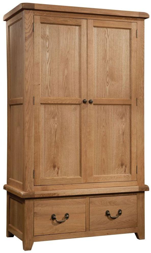 Devonshire Somerset Oak 2 Door 2 Drawer Wardrobe