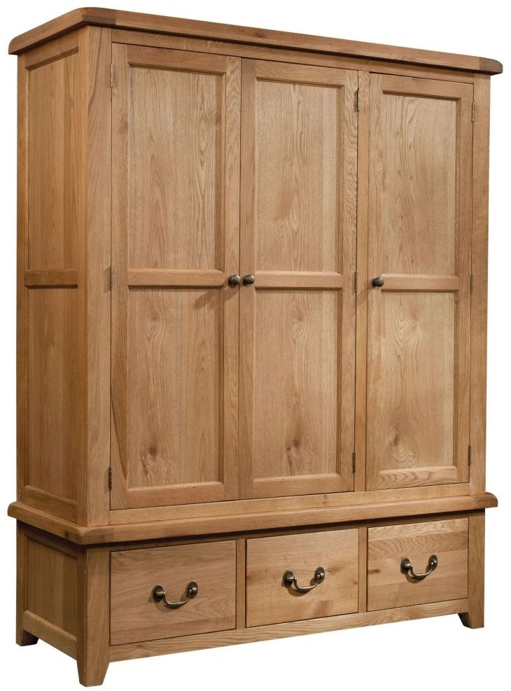 Devonshire Somerset Oak 3 Door 2 Drawer Wardrobe