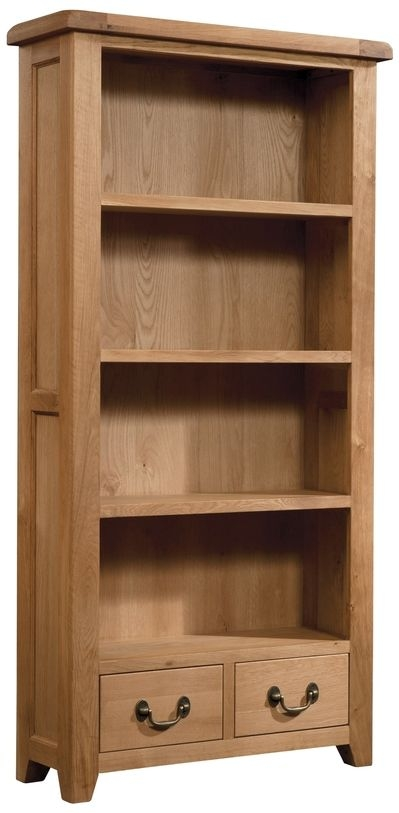 Devonshire Somerset Oak Bookcase - 2 Drawer Tall