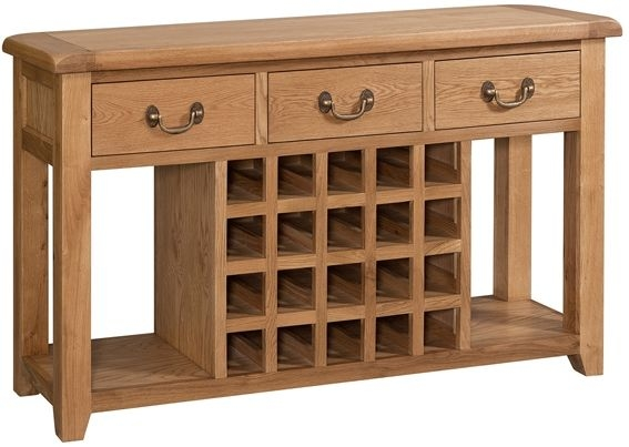 Devonshire Somerset Oak Sideboard with Wine Rack - Open