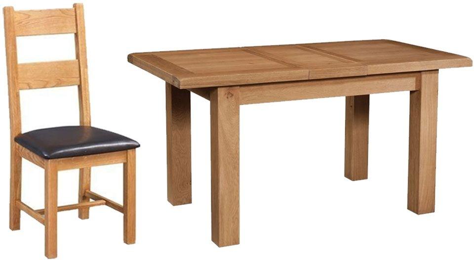 Devonshire Somerset Oak Rectangular 1 Leaf Extending Dining Set with 4 Chairs - 120cm-153cm