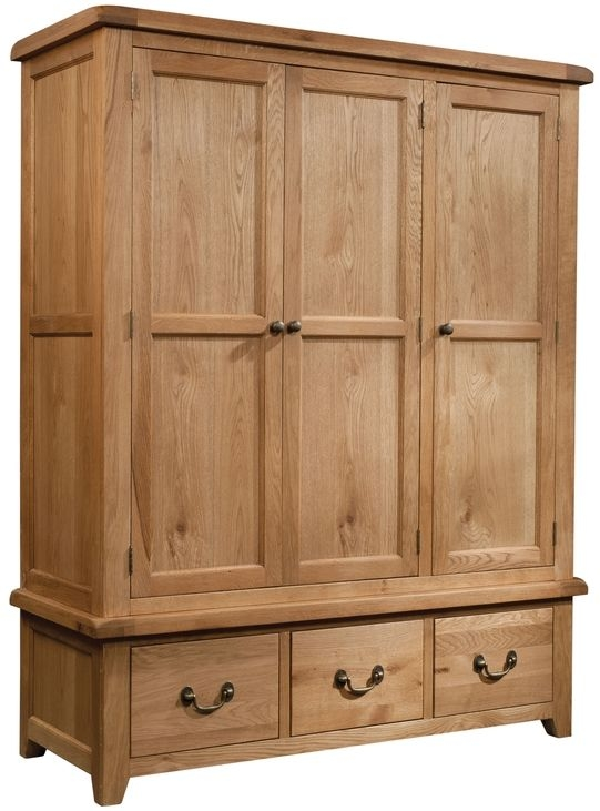 Devonshire Somerset Oak Wardrobe - Triple 3 Drawer