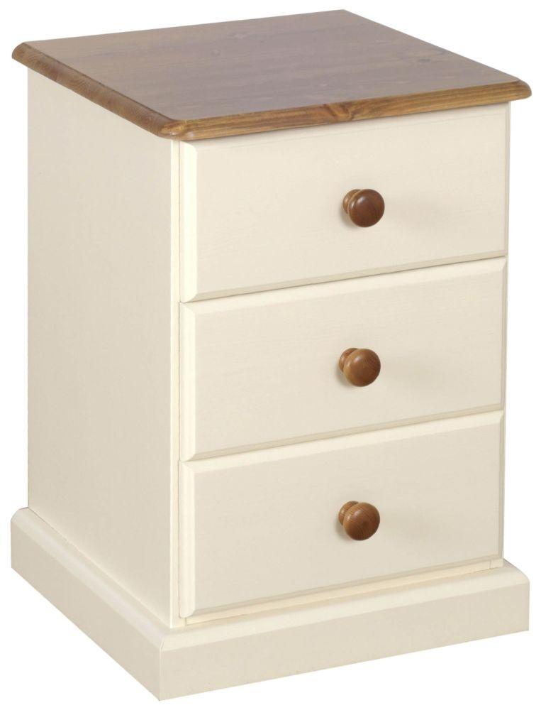 Devonshire Torridge Ivory Painted 3 Drawer Bedside Cabinet