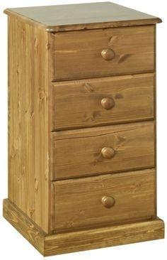Devonshire Torridge Pine Bedside Cabinet - 4 Drawer