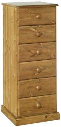 Devonshire Torridge Pine Bedside Cabinet - 6 Drawer