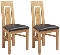 Devonshire Verona Oak Leather Dining Chair (Pair)