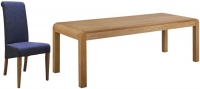 Devonshire Verona Oak Extending Dining Table and 6 Blue Fabric Chairs
