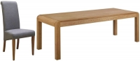 Devonshire Verona Oak Extending Dining Table and 6 Light Grey Fabric Chairs