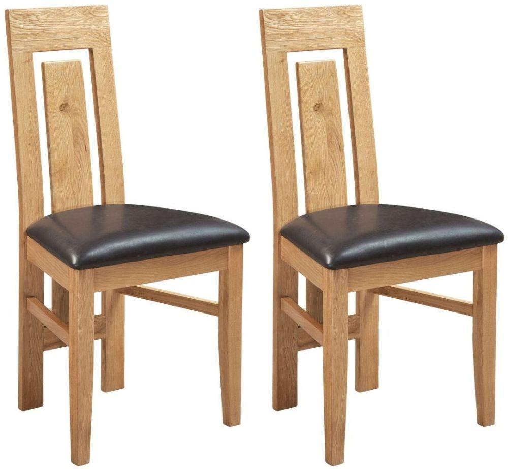 Devonshire Verona Oak Leather Dining Chair (Pair)