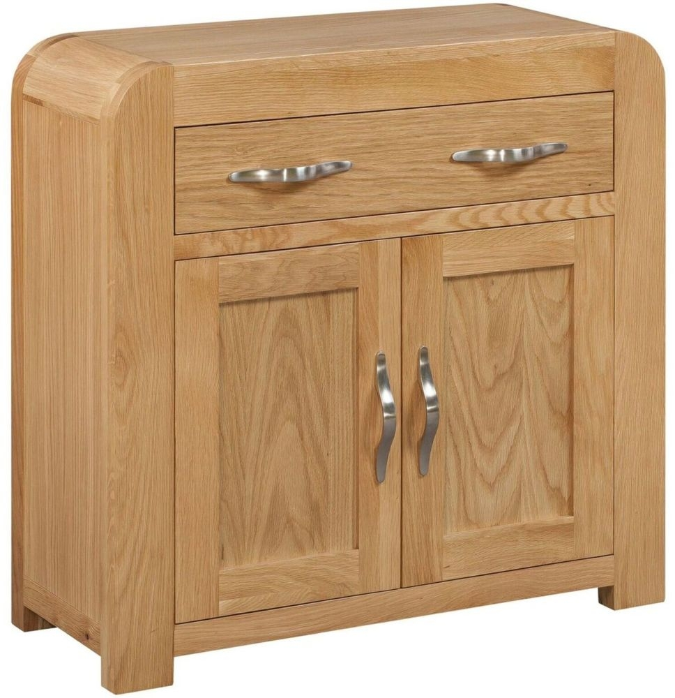 Devonshire Verona Oak Compact Sideboard - Small Narrow 2 Door 1 Drawer