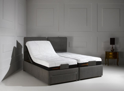 Dormeo Octaspring Sorrento Adjustable Cayenne Black Fabric Divan Bed with 6500 Mattress